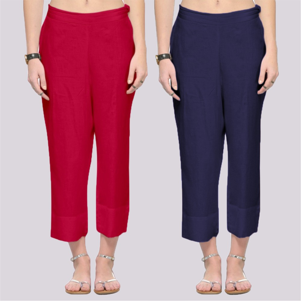 Combo of 2 Rayon Ankle Length Pant Pink and Red-34379