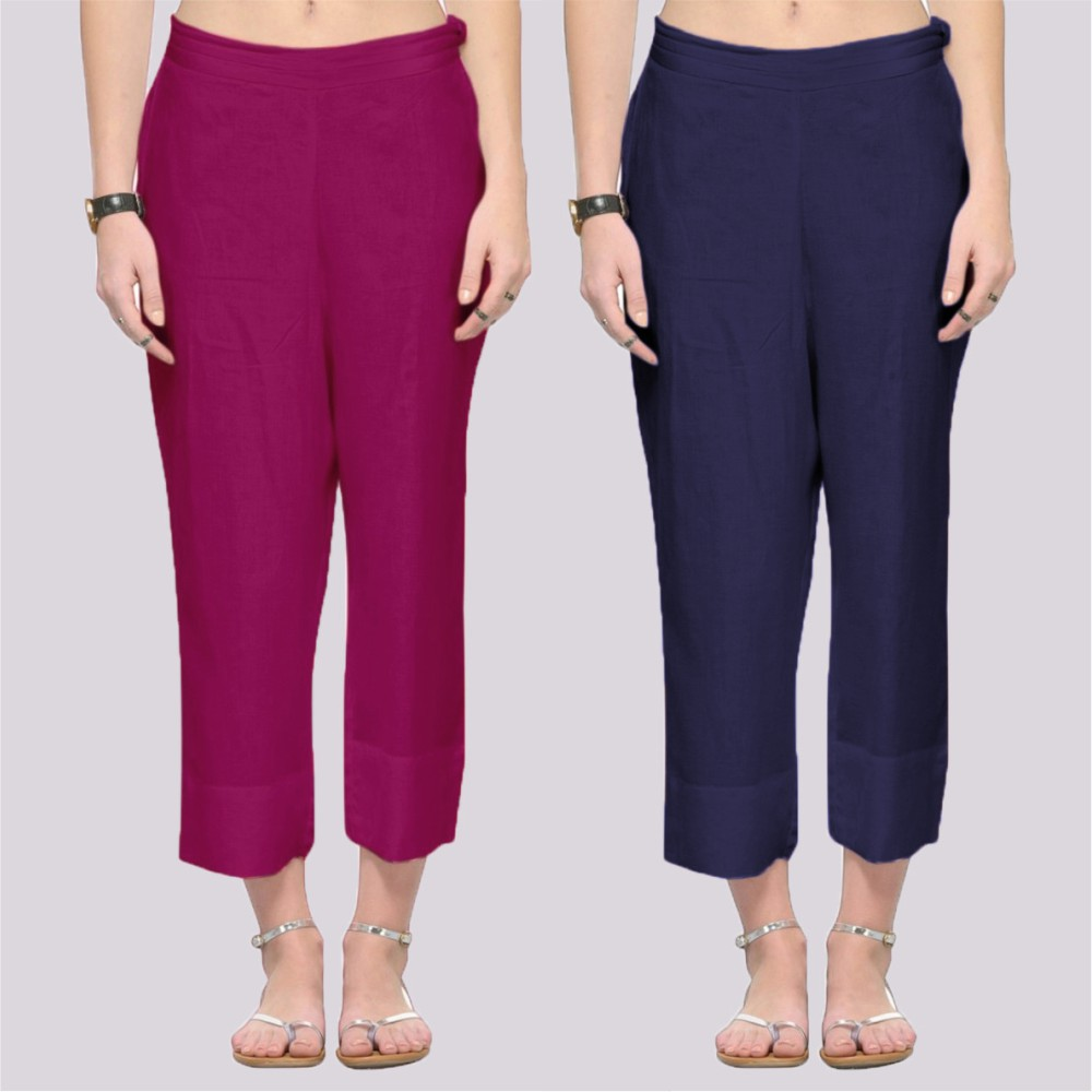 Combo of 2 Rayon Ankle Length Pant Purple and Blue-34381