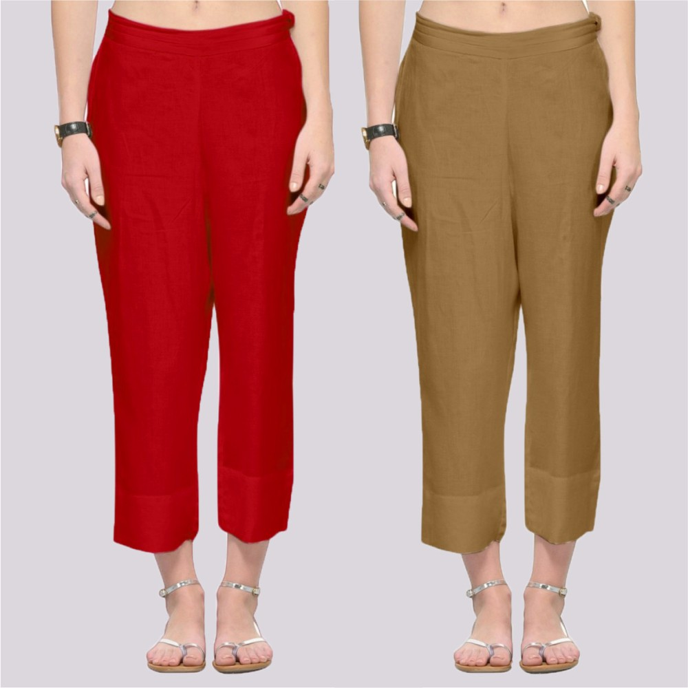 Combo of 2 Rayon Ankle Length Pant Red and Beige-34363