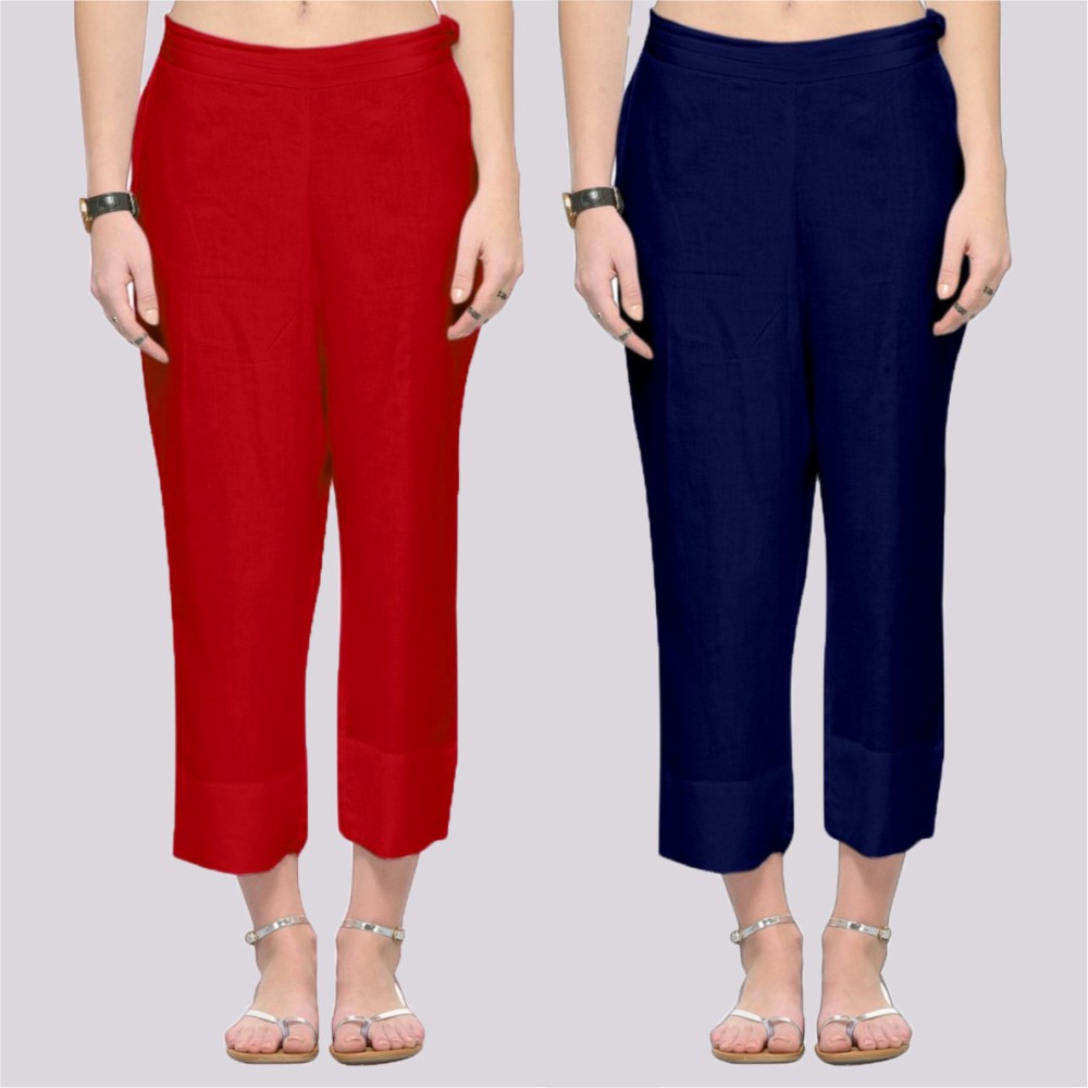 Combo of 2 Rayon Ankle Length Pant Red and Blue-34372