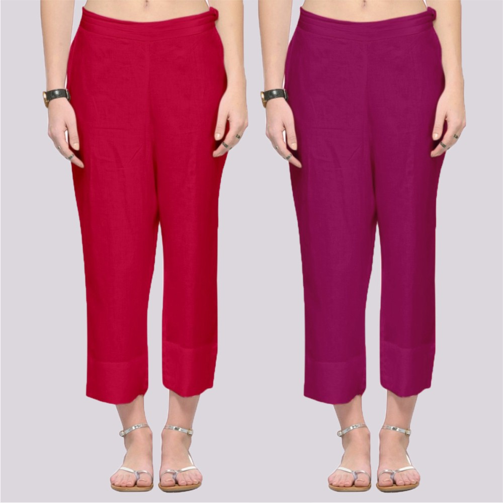 Combo of 2 Rayon Ankle Length Pant Red and Purple-34382