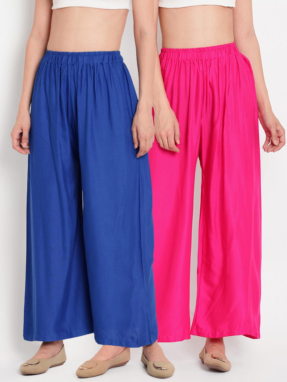 Combo of 2 Rayon Palazzos Pants Royal Blue and Pink-35275