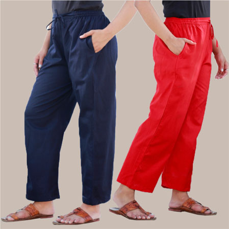 Combo of 2 Rayon Pant Navy Blue and Red-35015