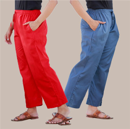 Combo of 2 Rayon Pant Red and Blue-35014