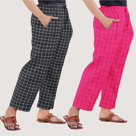 Combo of 2 Regular Cotton Check Pant Black and Magenta Pink-35567