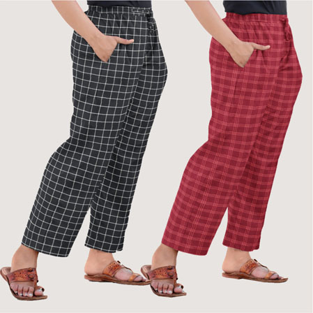Combo of 2 Regular Cotton Check Pant Black and Maroon-35563