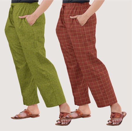 Combo of 2 Regular Cotton Check Pant Maroon and Olive Green-35594