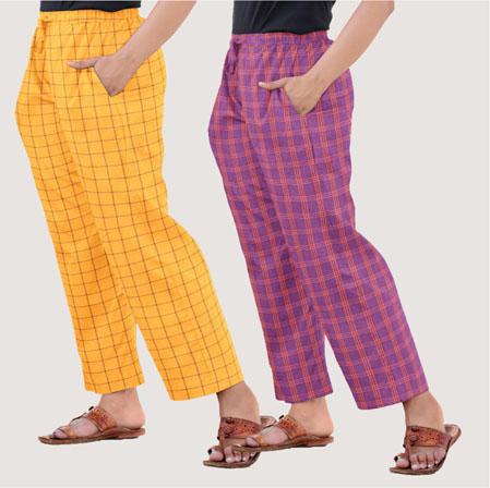 Combo of 2 Regular Cotton Check Pant Mustard Yellow and Purple-35683