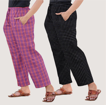Combo of 2 Regular Cotton Check Pant Purple and Black-35552