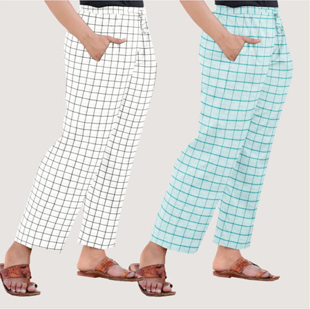 Combo of 2 Regular Cotton Check Pant White and Cyan-35689
