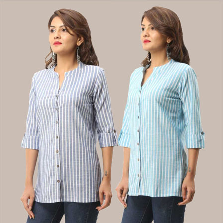 Combo of 2 Shirts-Blue and Cyan Stripe 3/4 Sleeve Handloom Cotton-33790