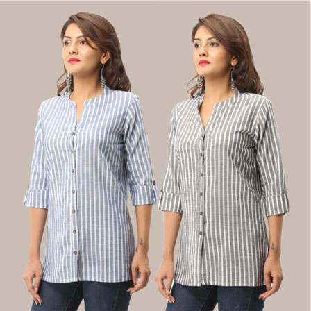 Combo of 2 Shirts-Blue and Gray Stripe 3/4 Sleeve Handloom Cotton-33789
