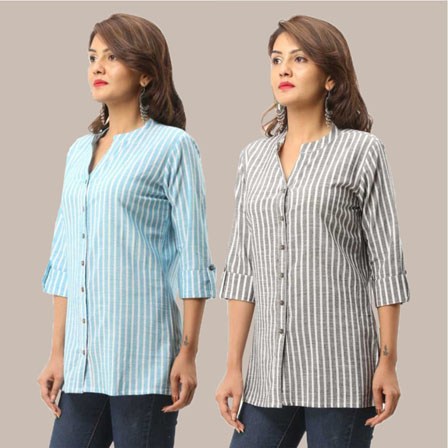 Combo of 2 Shirts-Cyan and Gray Stripe 3/4 Sleeve Handloom Cotton-33791