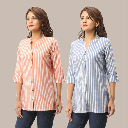Combo of 2 Shirts-Peach and Blue Stripe 3/4 Sleeve Handloom Cotton-33792