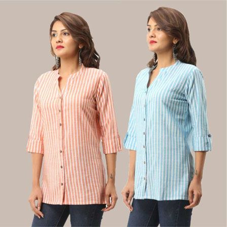 Combo of 2 Shirts-Peach and Cyan Stripe 3/4 Sleeve Handloom Cotton-33794