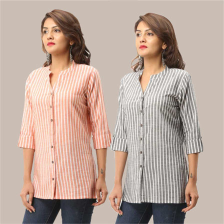 Combo of 2 Shirts-Peach and Gray Stripe 3/4 Sleeve Handloom Cotton-33793
