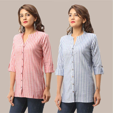 Combo of 2 Shirts-Pink and Blue Stripe 3/4 Sleeve Handloom Cotton-33795