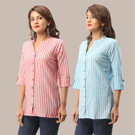Combo of 2 Shirts-Pink and Cyan Stripe 3/4 Sleeve Handloom Cotton-33797