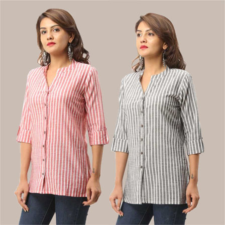 Combo of 2 Shirts-Pink and Gray Stripe 3/4 Sleeve Handloom Cotton-33796