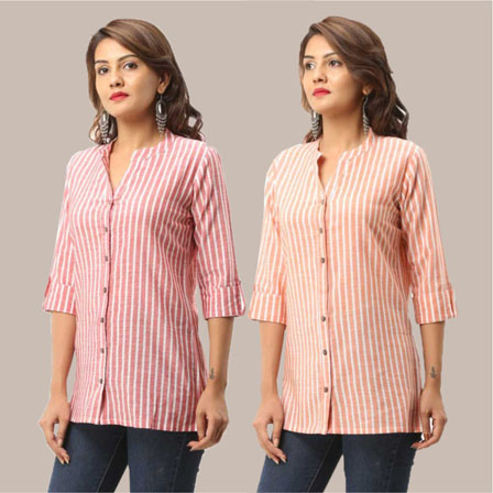 Combo of 2 Shirts-Pink and Peach Stripe 3/4 Sleeve Handloom Cotton-33798