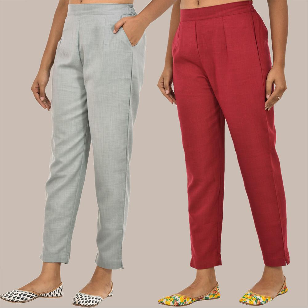 Combo of 2 Solid Women Pants Cotton Slub Maroon and Gray-36132
