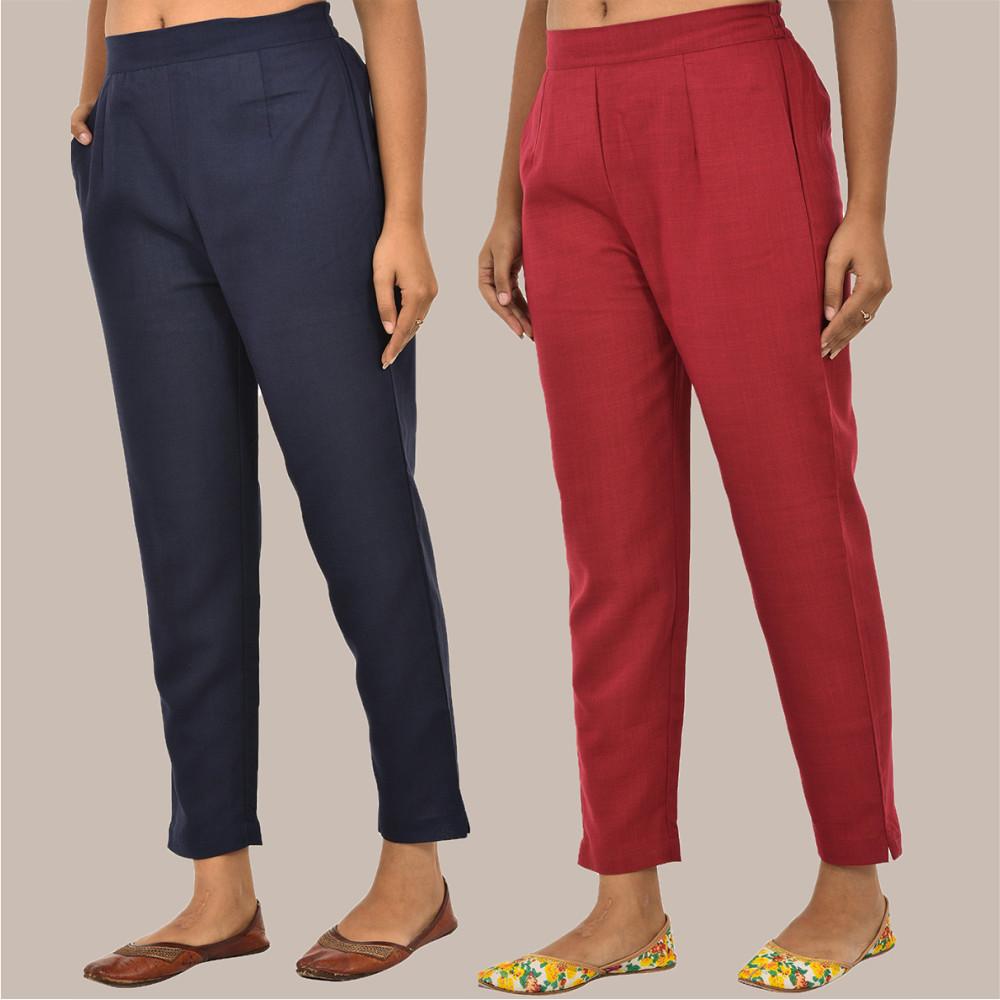 Combo of 2 Solid Women Pants Cotton Slub Maroon and Navy-Blue-36131