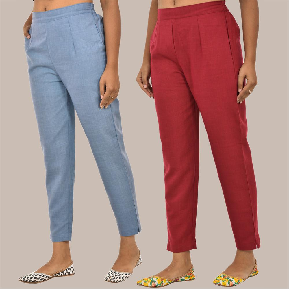 Combo of 2 Solid Women Pants Cotton Slub Maroon and Sky-Blue-36129