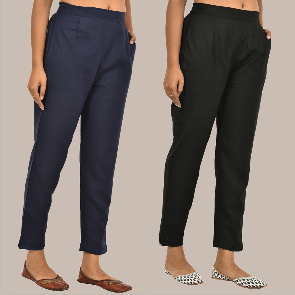 Combo of 2 Solid Women Pants Cotton Slub Navy-Blue and Black-36159