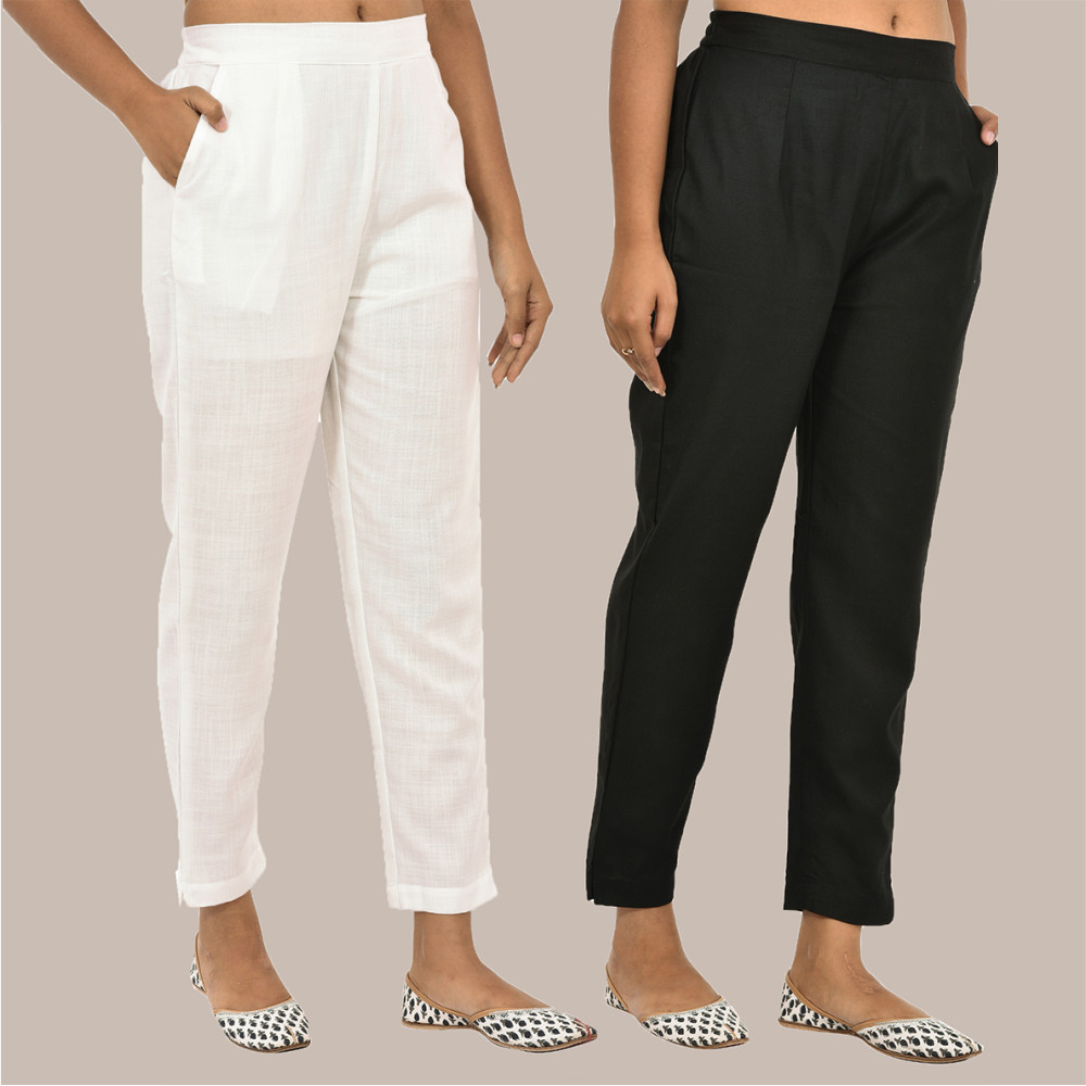 Combo of 2 Solid Women Pants Cotton Slub White and Black-36141