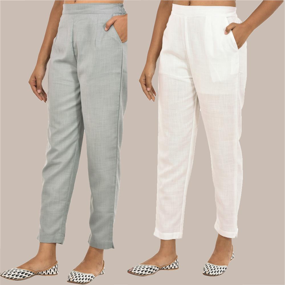 Combo of 2 Solid Women Pants Cotton Slub White and Gray-36140
