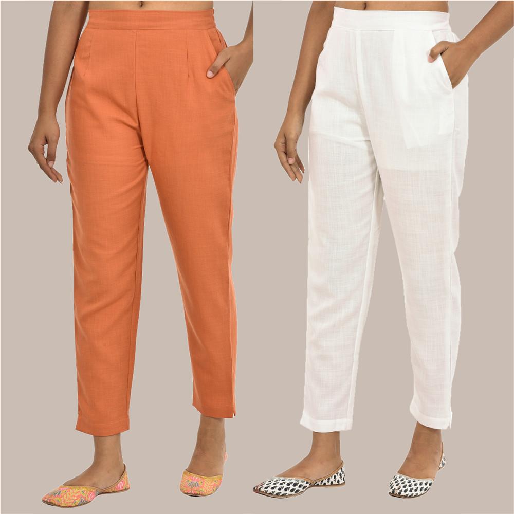 Combo of 2 Solid Women Pants Cotton Slub White and Peach-36144