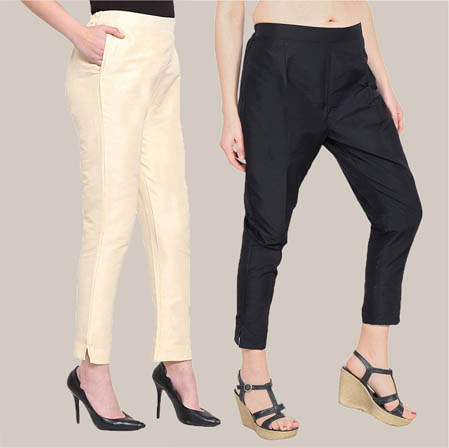 Combo of 2 Taffeta Silk Ankle Length Pant Beige and Black-34568