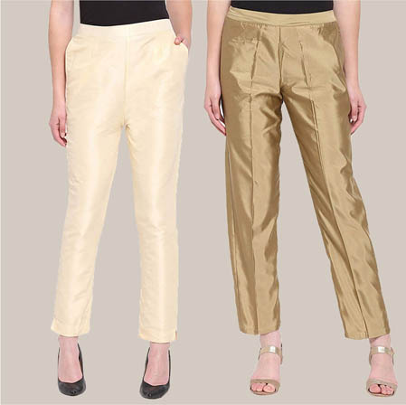 Combo of 2 Taffeta Silk Ankle Length Pant Beige and Golden-34571