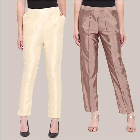 Combo of 2 Taffeta Silk Ankle Length Pant Beige and Peach-34594