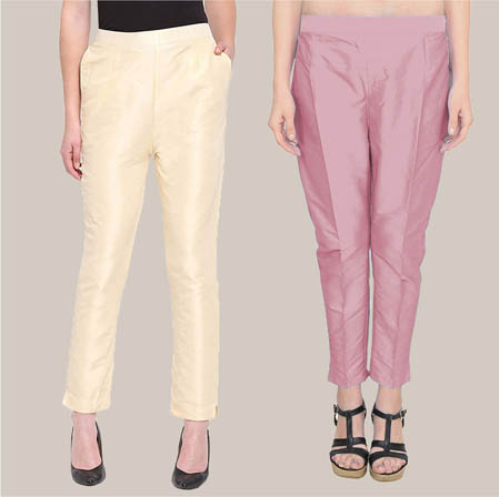 Combo of 2 Taffeta Silk Ankle Length Pant Beige and Pink-34596