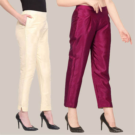 Combo of 2 Taffeta Silk Ankle Length Pant Beige and Purple-34593