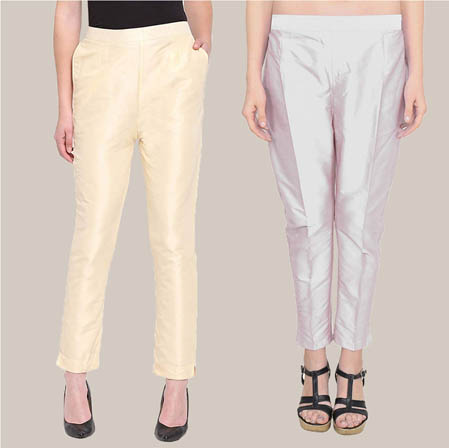 Combo of 2 Taffeta Silk Ankle Length Pant Beige and Silver-34570