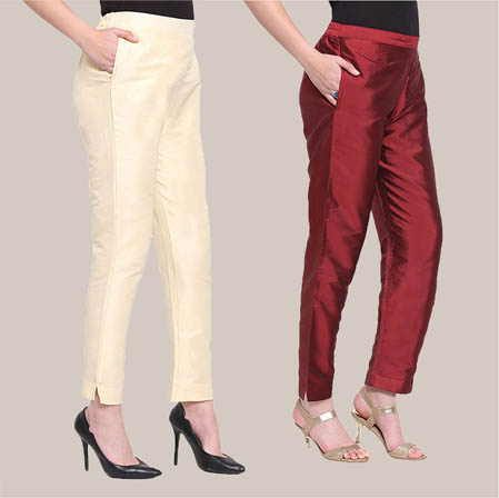 Combo of 2 Taffeta Silk Ankle Length Pant Beige and Wine-34569