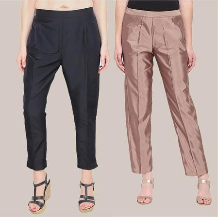 Combo of 2 Taffeta Silk Ankle Length Pant Black and Peach-34576