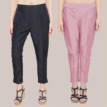 Combo of 2 Taffeta Silk Ankle Length Pant Black and Pink-34577