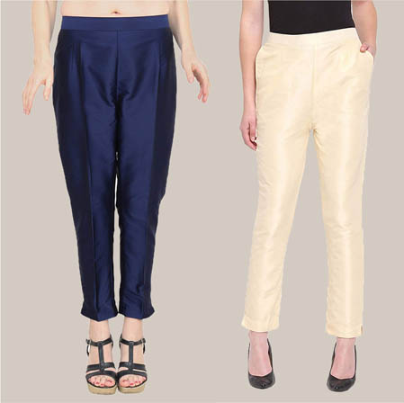 Combo of 2 Taffeta Silk Ankle Length Pant Blue and Beige-34564