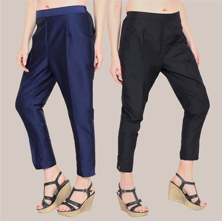 Combo of 2 Taffeta Silk Ankle Length Pant Blue and Black-34563