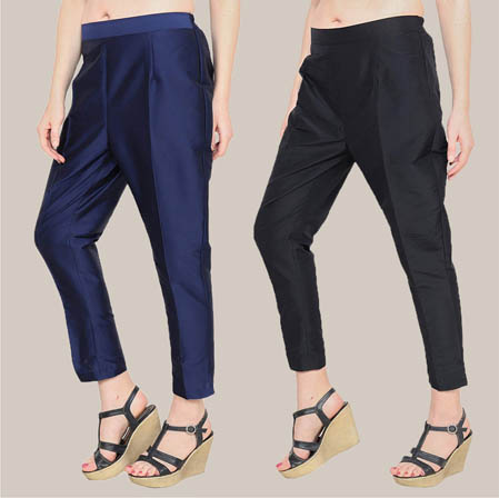 Combo of 2 Taffeta Silk Ankle Length Pant Blue and Black-34567