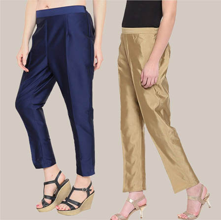 Combo of 2 Taffeta Silk Ankle Length Pant Blue and Golden-34566