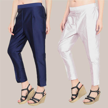 Combo of 2 Taffeta Silk Ankle Length Pant Blue and Silver-34565