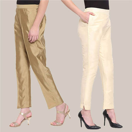 Combo of 2 Taffeta Silk Ankle Length Pant Golden and Beige-34543