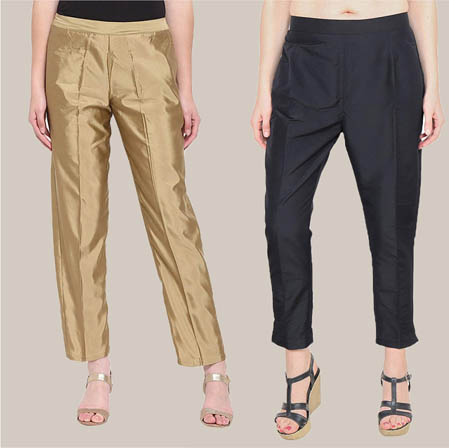 Combo of 2 Taffeta Silk Ankle Length Pant Golden and Black-34537