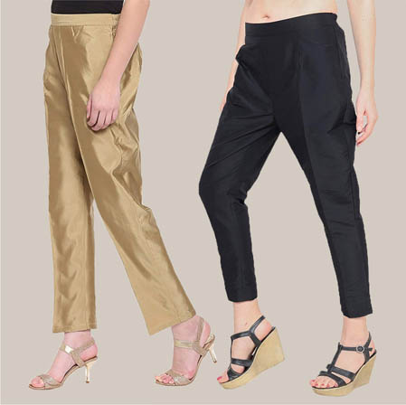 Combo of 2 Taffeta Silk Ankle Length Pant Golden and Black-34547