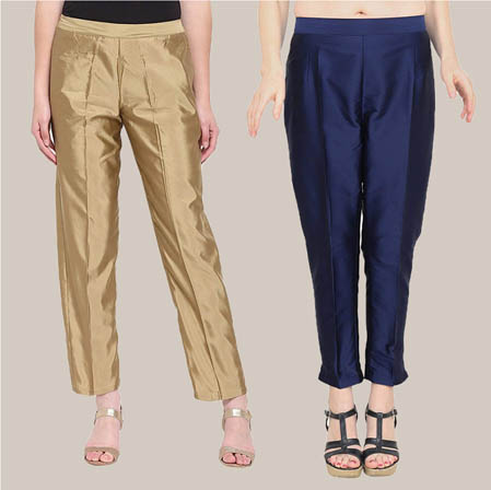 Combo of 2 Taffeta Silk Ankle Length Pant Golden and Blue-34541