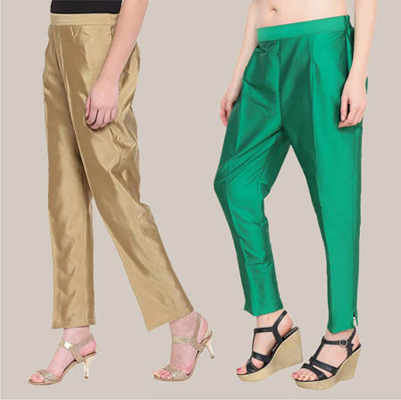 Combo of 2 Taffeta Silk Ankle Length Pant Golden and Green-34539